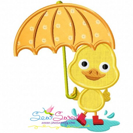 Duck Umbrella Machine Applique Design For Kids And Rainy Season.