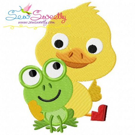 Frog Duck Machine Embroidery Design For Kids And Rainy Season.