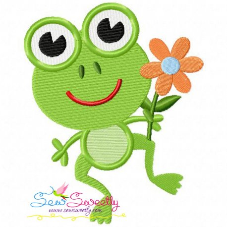Frog Flower Machine Embroidery Design For Kids And Rainy Season.