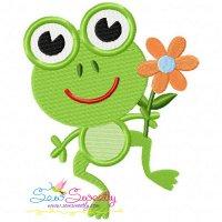 Frog Flower Embroidery Design