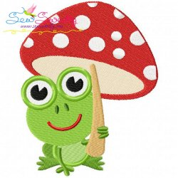 Frog Mushroom Machine Embroidery Design For Kids And Rainy Season.