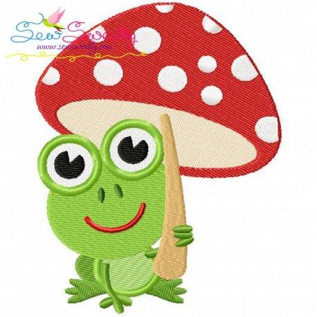 Frog Mushroom Machine Embroidery Design For Kids And Rainy Season.