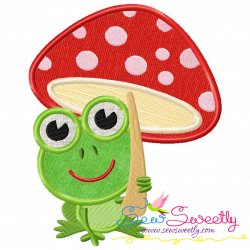 Frog Mushroom Machine Applique Design For Kids And Rainy Season.