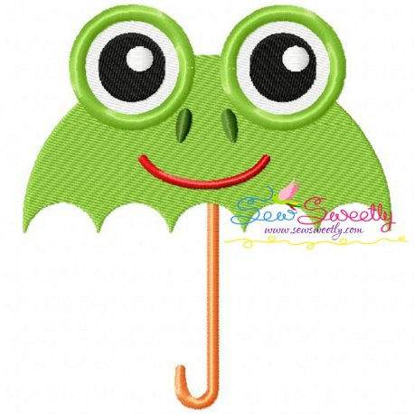 Frog Umbrella Machine Embroidery Design For Kids And Rainy Season.