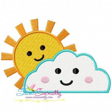 Sun Cloud Machine Embroidery Design For Kids And Rainy Season.