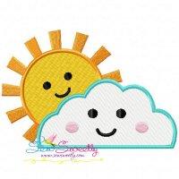 Sun Cloud Embroidery Design
