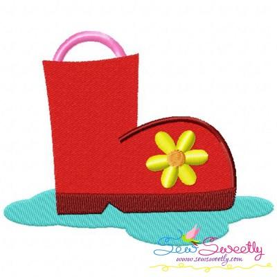 Rain Boot Embroidery Design