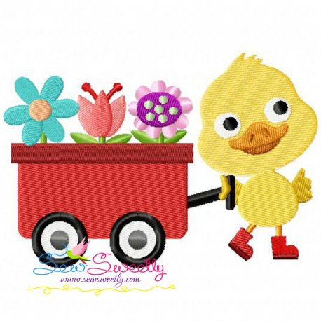 Duck Wagon Machine Embroidery Design For Kids And Spring Season.