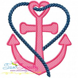 Heart Anchor Embroidery Design