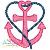 Heart Anchor Embroidery Design