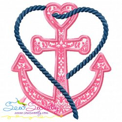 Heart Anchor Applique Design