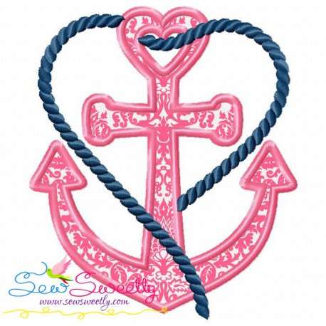 Heart Anchor Machine Applique Design For Hand Towels And Other Projects