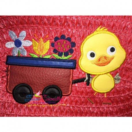 Duck Umbrella Machine Applique Design For Kids And Spring Season.