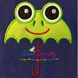 Frog Umbrella Machine Applique Design For Kids And Rainy Season.