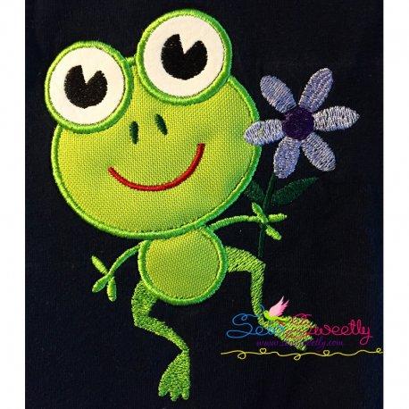 Frog Flower Machine Applique Design For Kids And Rainy Season.