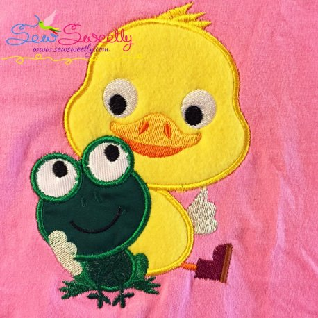 Frog Duck Machine Applique Design For Kids And Rainy Season.