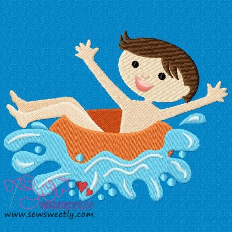 Kids And Pool-1 Machine Embroidery Design For Kids And Summer Season Prejects