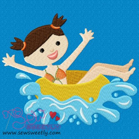 Kids And Pool-2 Machine Embroidery Design For Kids And Summer Season Prejects