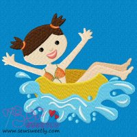 Kids And Pool-2 Embroidery Design