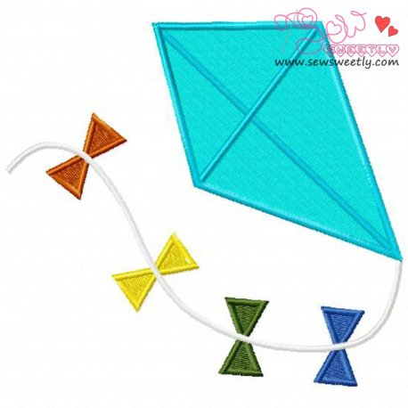 Summer Kite Machine Embroidery Design For Kids And Summer Season Projects.