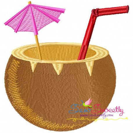 Coconut Drink Machine Embroidery Design For Kids And Summer Season Projects.
