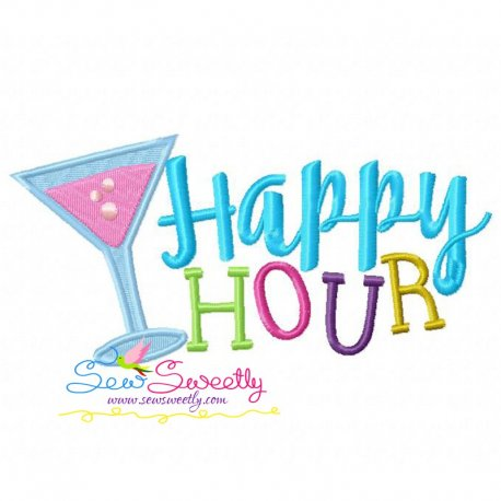 Happy Hour Machine Embroidery Design For Kids And Summer Season