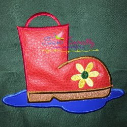 Rain Boot Machine Applique Design For Kids And Rainy Season.