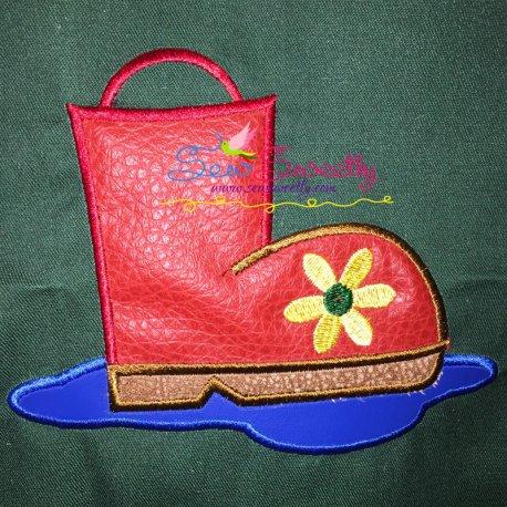 Rain Boot Machine Applique Design For Kids And Rainy Season.