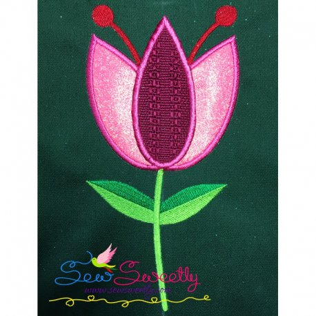 Pink Flower Machine Applique Design Best For Pillows And Bed sheets.