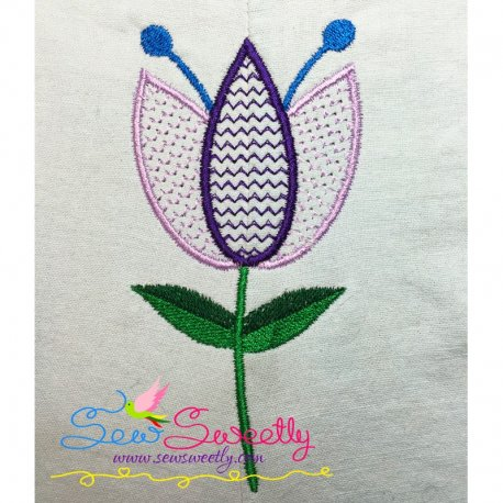 Pink Flower Machine Embroidery Design For Floral Projects.