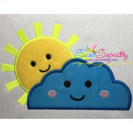 Sun Cloud Machine Applique Design For Kids And Rainy Season.