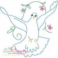 Vintage Redwork Pigeon-1 Embroidery Design
