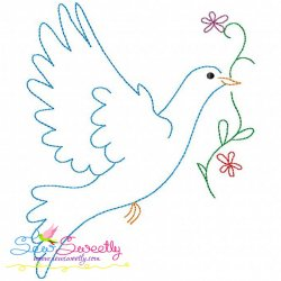 Vintage Redwork Pigeon-2 Embroidery Design