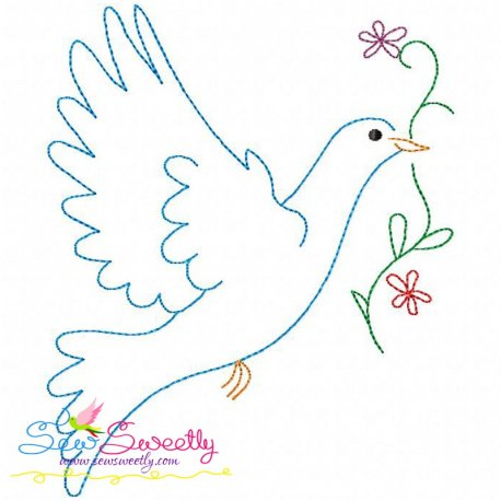 Vintage Redwork Pigeon-2 Embroidery Design Best For Pillows