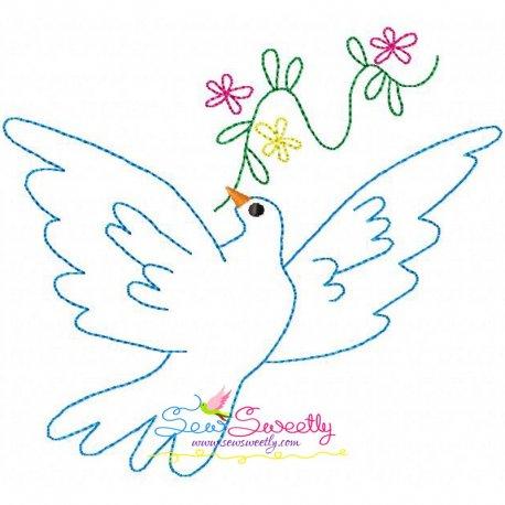 Vintage Redwork Pigeon-3 Embroidery Design, Best For Bath Towels