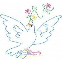 Vintage Redwork Pigeon-3 Embroidery Design