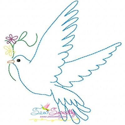 Vintage Redwork Pigeon-4 Embroidery Design