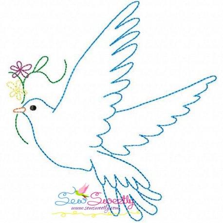Vintage Redwork Pigeon-4 Embroidery Design For Kids