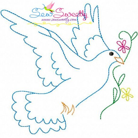 Vintage Redwork Pigeon-5 Embroidery Design, Embroidery Patterns For Every Need.