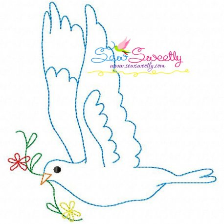 Vintage Redwork Pigeon-7 Embroidery Design For Pillows