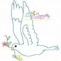 Vintage Redwork Pigeon-7 Embroidery Design