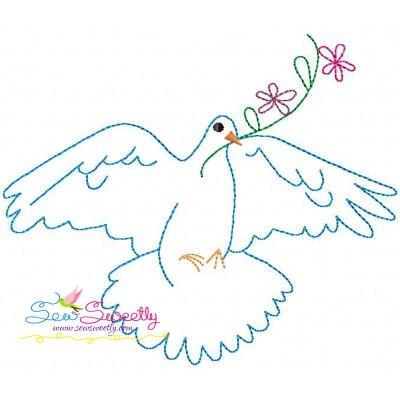 Vintage Redwork Pigeon-8 Embroidery Design