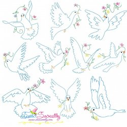 Vintage Redwork Pigeons Embroidery Design Bundle