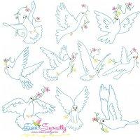 Vintage Redwork Pigeons Embroidery Design Bundle