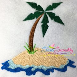 Palm Tree On Island Embroidery Design