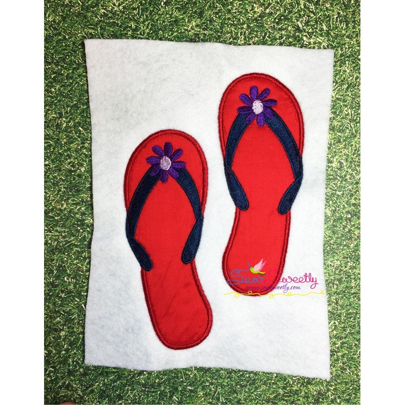 ed14ed9904e9 ... Flip Flop Machine Applique Design For Summer Season ...