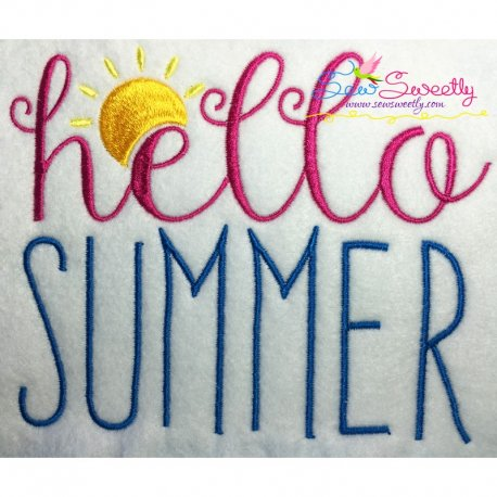 Hello Summer Lettering Embroidery Design Pattern- Category- Summer And Spring Season- 1