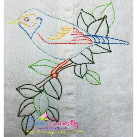 Colorful Vintage Redwork Bird-1 Machine Embroidery Design