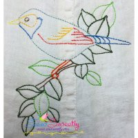Colorful Vintage Bird-1 Embroidery Design