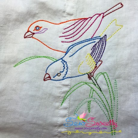 Colorful Vintage Redwork Bird-2 Machine Embroidery Design For Pillows